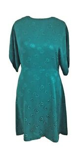 Mango Jade Green Floral Fit & Flare Tea Dress Size Large
