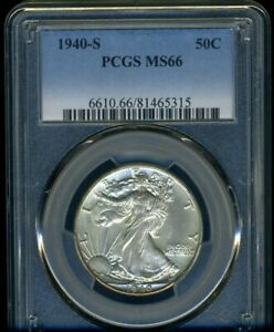1940-S WALKING LIBERTY PCGS MS66 --- LUSTROUS WHITE COIN --- TOUGH LATER DATE