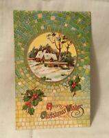 1911 Embossed Christmas Postcard HEARTY CHRISTMAS WISHES tile design