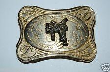WOW Nice Vintage Western Rodeo Horse Saddle Golden Metal Belt Buckle HTF