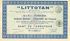 LITTOTAN SA, parte de fundador, 1929 (Cuir, Siege: Zeebrugge)