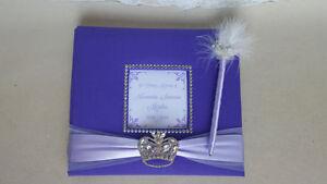 Custom Funeral Guest Book- crown princess queen memorial service sign purple