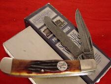 "Schrade USA made Genuine Damascus 2 Blade Bone 4-1/4"" Trapper Knife MINT"