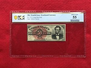"""FR-1374 Fourth Issue Fractional Currency 50c Fifty Cents """"Lincoln"""" *PCGS 55 AU*"""