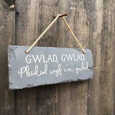 Welsh National Anthem Slate Sign Gwlad, Gwlad Wall Plaque 22cm x 8cm Rustic
