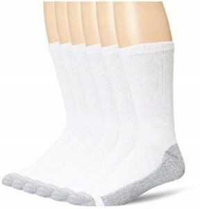 Hanes Cushion Crew Socks 6-PACK Black or White Sizes 6-12, 12-14