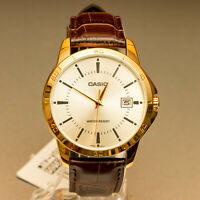Casio Mens MTP-V004GL-9A Gold Tone Analog Watch Brown Leather Band Day Date New