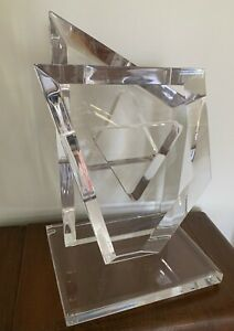 Hivo Van Teal Signed Judaica Star of David Modern Clear Acrylic Sculpture 20""