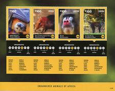 Liberia 2014 MNH Endangered Animals of Africa 4v M/S II Monkeys Bats Stamps
