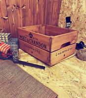 Rustic And Vintage Wooden Moet Champagne Crate - Box Storage