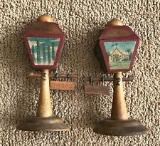 Vintage Wooden Texas Souvenir Street Lamps Signs Salt and Pepper Shakers