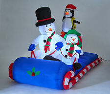 Inflatable Snowman & Friends ON SLEIGH Xmas Light Up Decoration 180cm long 1050