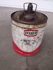 Vintage TEXACO Oil 5 Gallon Metal Bulk Oil Can with all Screw on Caps