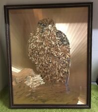 Large Etched Meadowsweet Foil Art Eagle Picture In Frame - Made In Wales
