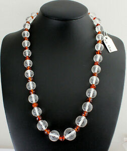 Natural Rock Crystal And Citrine Chain Gemstone Necklace Palmeira 47cm