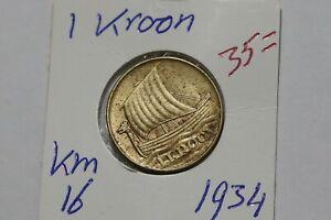 ESTONIA 1 KROON 1934 B38 WV12