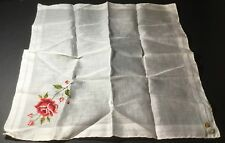 Vtg Embroidered Hankie Handkerchief New With Tag Burmel Pink Rose Rosebuds