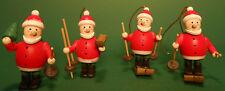4x Baumschmuck Weihnachtsmann aus Holz mit Goldfaden zum hängen 5 cm groß neu