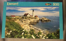 "Encore! 500pc Jigsaw Puzzle White Roses At Portland Head Maine NEW 10 3/4"" x 18"""
