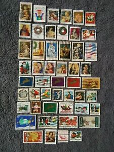 Vintage Christmas Postage Stamps (50)-Holiday Crafts/Decorations-LOT#6