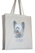 More details for skye terrier breed of dog h cotton shopping tote bag long handles perfect gift