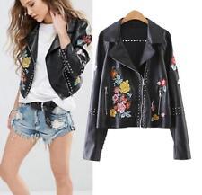 women rivet Floral Embroidered leather BLACK spring jacket outwear coat