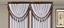 AMY 1PC Brown  White Faux Silk Rod Pocket Swag Waterfall Dressing Valance