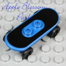 NEW Lego Minifig BLUE SKATEBOARD Boy Girl Skate Board w/Black Lego Decal Sticker