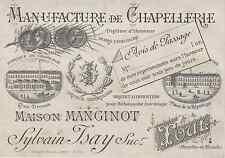 """""""MANUFACTURE DE CHAPELLERIE MANGINOT Toul"""" Etiquette-chromo originale fin 1800"""
