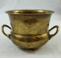 """Vintage Solid Brass Planter Pot Footed With handles 5"""" x 4"""""""
