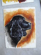 Vintage 1950s Ken Urion Oil Painting Black Dog LOOK