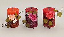 3 Duftkerze Rose Stumpen Teelicht Brenndauer 18 Std. Aroma Kerze rot Badezimmer
