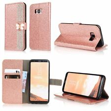 For Samsung Bling Diamond Jewelled Butterfly Wallet Leather Flip Phone Case