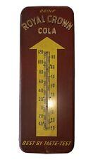 "VINTAGE ROYAL CROWN COLA SODA POP 25.5"" METAL THERMOMETER SIGN ADVERTISING"