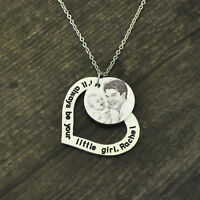 Custom Picture Necklace Engraved Photo Necklace Gift For Dad Heart Necklace