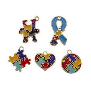 10PCS Colorful Assorted Autism Awareness Charms Pendant for Necklace Bracelet