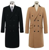 Mens Double Breasted Cashmere & Wool Long Overcoat Velvet Collar Winter Cromby
