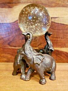 Bronze & Glass Elephants Figurine San Pacific International SPI Home Décor