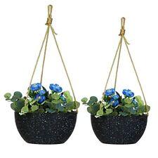 2 Pack Hanging Planters 9'/10' Plastic Plant Flower Pots