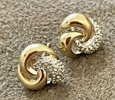 SOLID 9k WHITE & YELLOW GOLD EARRINGS  3 NATURAL UNTREATED DIAMONDS 1mm Round