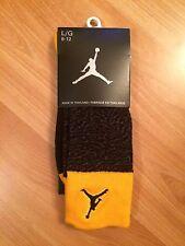 Air Jordan Nike Socks Mens Size 8-12 Large New Elephant Yellow Black Retro Iii
