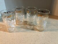 "BEVERAGE 8 OZ. GLASS TUMBLERS W/ WHITE FLOWERS & GOLD LEAF DESIGN  4.5"" TALL   S"