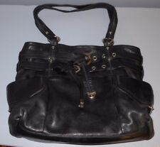 B. MAKOWSKY LARGE SOFT BLACK PEBBLED LEATHER SATCHEL SHOULDER BAG TWO STRAPS