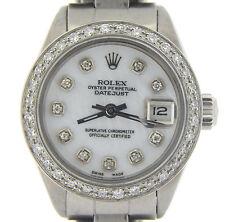 Rolex Datejust Ladies Stainless Steel Watch w/ White MOP Diamond Dial & Bezel