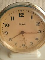 Rare Vintage Mechanical Alarm Clock Slava 11 Jewels USSR 1960s. Repair required.