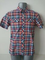 Mens LYLE&SCOTT Small Red Blue Mix Check Button Up Casual Shirt Utility Pockets