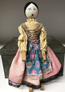"Vintage Handmade Jointed 10.5"" Peg Wooden Doll"
