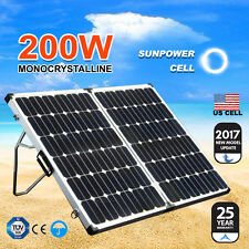New 12V 200W Folding Solar Panel Kit MONO Caravan Camping Power Battery