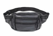 New Men's Women's real leather black Waist Pack /wallet /backpack /Bag
