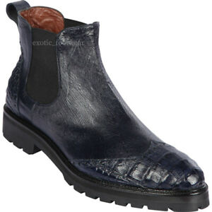 Men's Lombardy By Los Altos Genuine Caiman Belly Ankle Boot Wing TIp Rubber Sole
